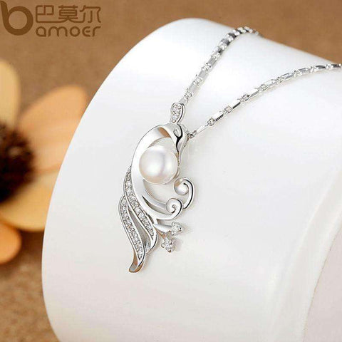 Image of White Gold Color Simulated Pearl Necklaces & Pendants with Paved 21 piece Micro AAA Cubic Zircon - AMAZOFFER
