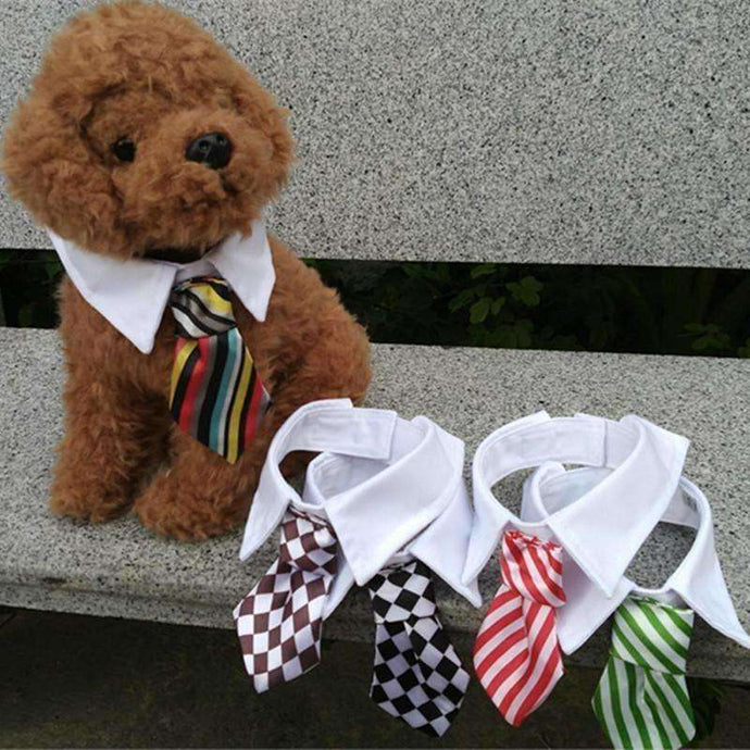 Gentleman Pet Dog Tie Grid Stripe Cat Bow - AMAZOFFER
