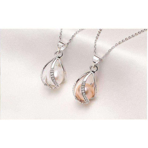 Pearl Cage Pendant Necklace , 8-9mm 925 Sterling Silver Pendant Pearl Jewelry - AMAZOFFER