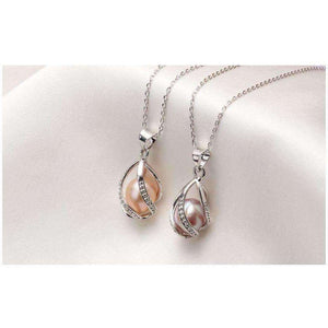 Pearl Cage Pendant Necklace , 8-9mm 925 Sterling Silver Pendant Pearl Jewelry