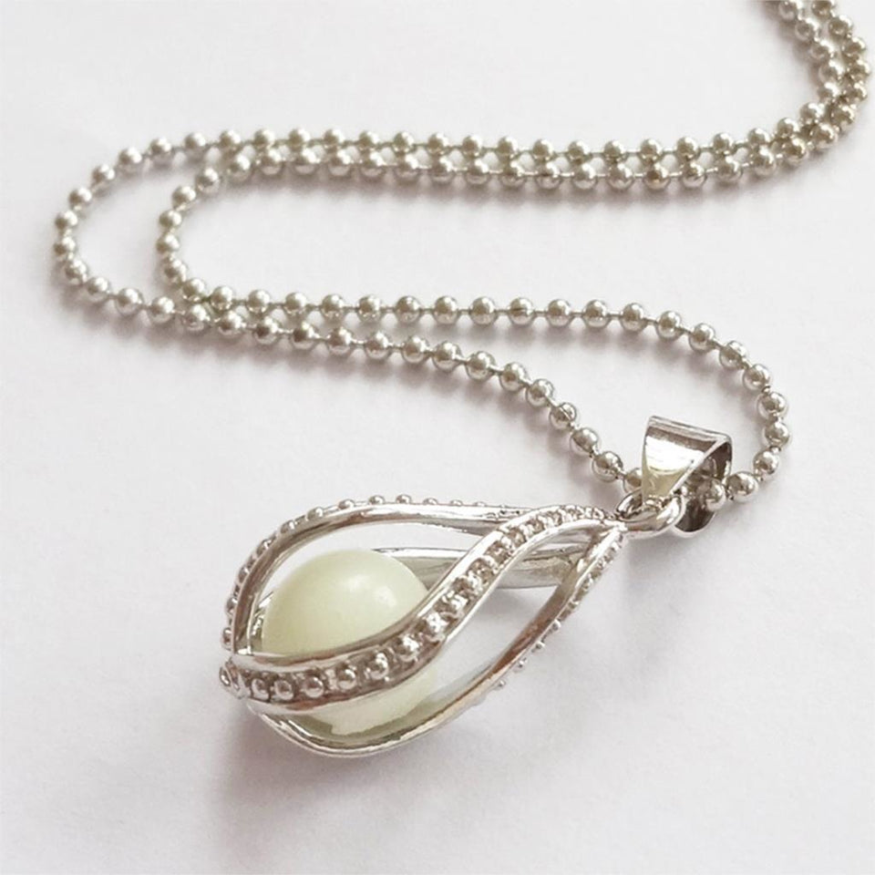 Steampunk Glow In the Dark Necklace Silver Color  with Luminous Stone Locket Pendant - AMAZOFFER