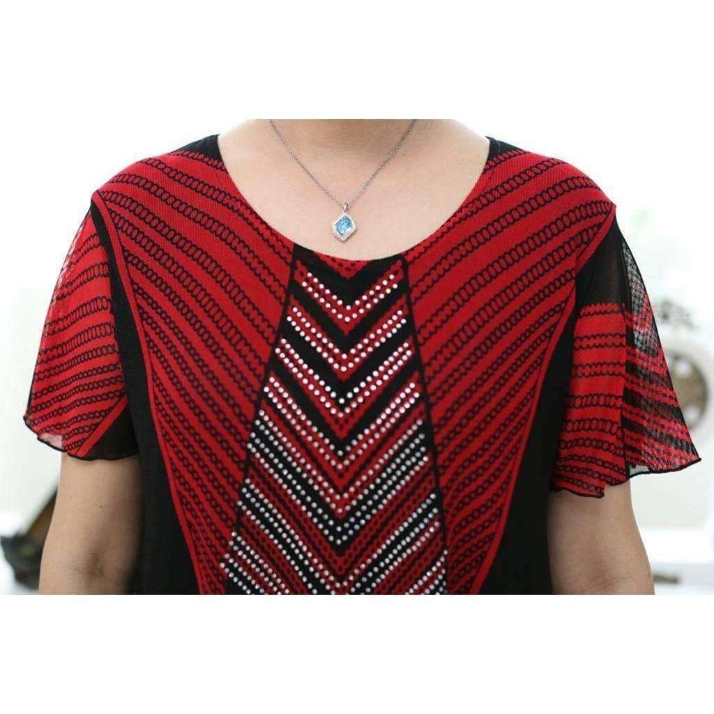Womens Knit mesh print short sleeve T-shirts with lining double layer shirts - AMAZOFFER