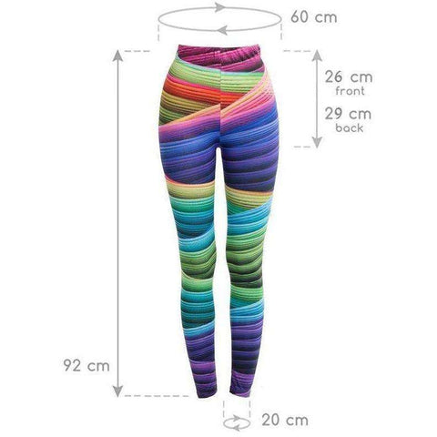 Brand Women Candy Colors Striped Print Leggings Slim Workout High Waist Skinny Ukraine Trousers - AMAZOFFER