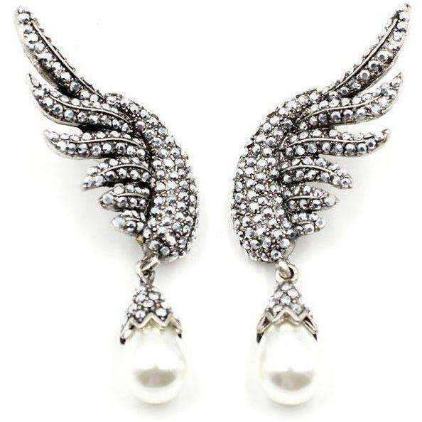 New brand design statement  fashion stud Earrings for women simulated pearl wing earring - AMAZOFFER
