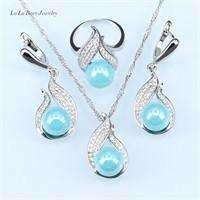 Image of Handmade Silver color Jewelry Hollow Out  Water Drop With Imitation White Pearl Jewelry - AMAZOFFER