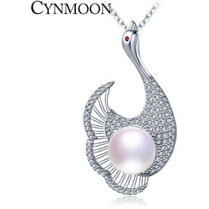 925 Silver White Pearl Pendant with 9-10MM Freshwater Pearl for Mother's Day Gift - AMAZOFFER