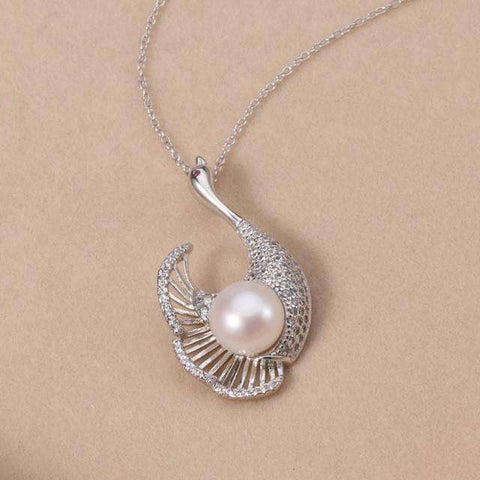 Image of 925 Silver White Pearl Pendant with 9-10MM Freshwater Pearl for Mother's Day Gift - AMAZOFFER