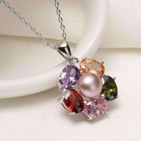 Fashion 925 Sterling Silver  7-8mm Pearl Pendant Necklace Jewelry,AAAA Genuine Freshwater - AMAZOFFER