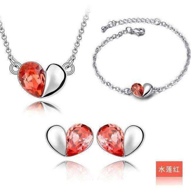 Romantic White Gold Plated Jewelry Sets Simple Heart Pendant Necklace/Earrings/Bracelet - AMAZOFFER