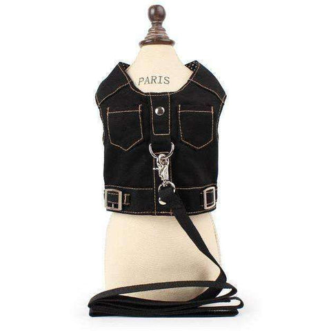 Denim Jean Pet Dog Harness Puppy Cat Vest with Leash - AMAZOFFER