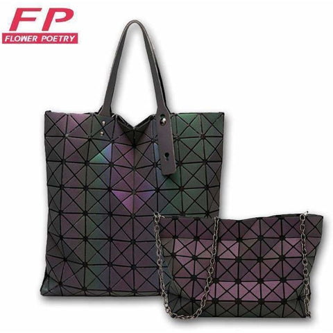 Image of Bags Women Geometry Folding Bag Luminous Handbags Tote Bao Bao Women Messenger Shoulder Bags Clutch bolso mujer - AMAZOFFER