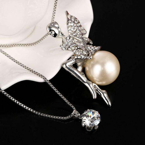 Image of Fashion Crystal Jewelry Angle Pendant Necklaces 2 Multilayers Silver Plated Chain Long Necklaces - AMAZOFFER
