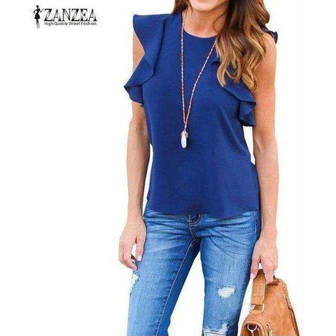 O Neck Sleeveless Ruffles Shirts Casual Slim Solid Blusas Plus Size Tee Tops - AMAZOFFER