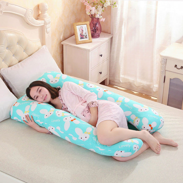 pregnancy Comfortable U shape Maternity pillows Body cartoon pregnancy pillow Women pregnant Side Sleepers cushion - AMAZOFFER