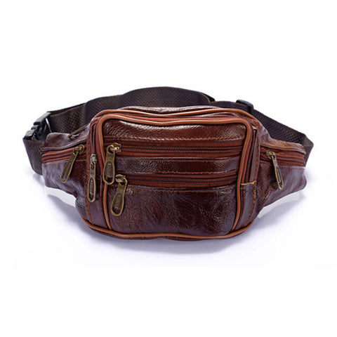 Image of Men Oil Wax Travel Riding Motorcylce Hip Bum Belt Pouch Fanny Pack Waist Purse Clutch Bag  Travel Portable Bags - AMAZOFFER