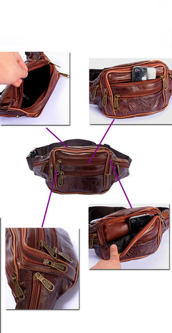 Men Oil Wax Travel Riding Motorcylce Hip Bum Belt Pouch Fanny Pack Waist Purse Clutch Bag  Travel Portable Bags - AMAZOFFER