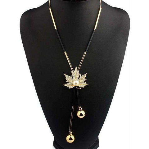 Image of Lovely Maple Leaf Long Beaded Chain Tassel Pendant Necklace - AMAZOFFER