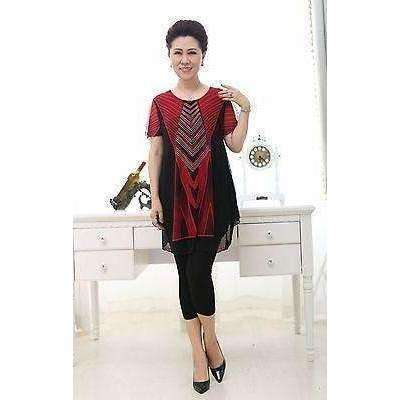 Image of Womens Knit mesh print short sleeve T-shirts with lining double layer shirts - AMAZOFFER