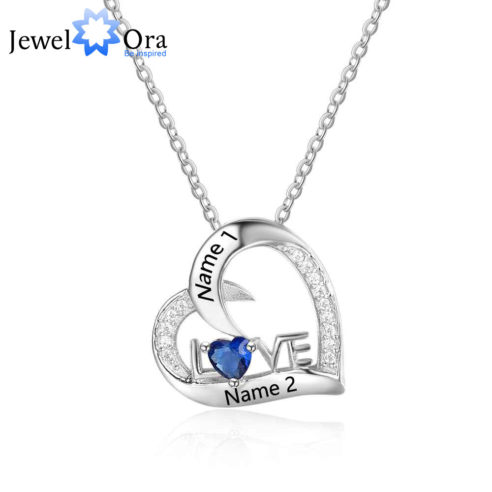 Personalized 925 Sterling Silver Birthstone Necklace Pendants DIy Mom Girlfriend Birthday Christmas Gift - AMAZOFFER