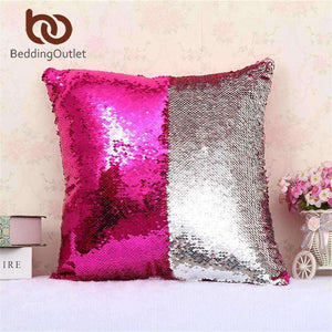 BeddingOutlet Mermaid Sequin Cushion Cover Magical Shining Pillow Case  40X40cm
