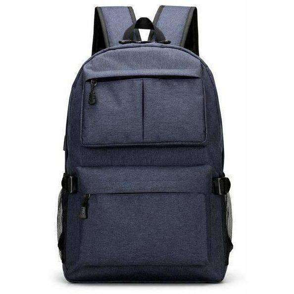 Men's Canvas Backpack Student School Backpack USB External Charge Computer Bag - AMAZOFFER
