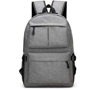 Men's Canvas Backpack Student School Backpack USB External Charge Computer Bag