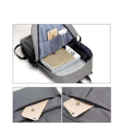 Image of Men's Canvas Backpack Student School Backpack USB External Charge Computer Bag - AMAZOFFER