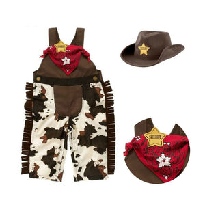 Baby cowboy romper costume infant toddler boy girl clothing set 3pcs hat +scarf +romper - AMAZOFFER
