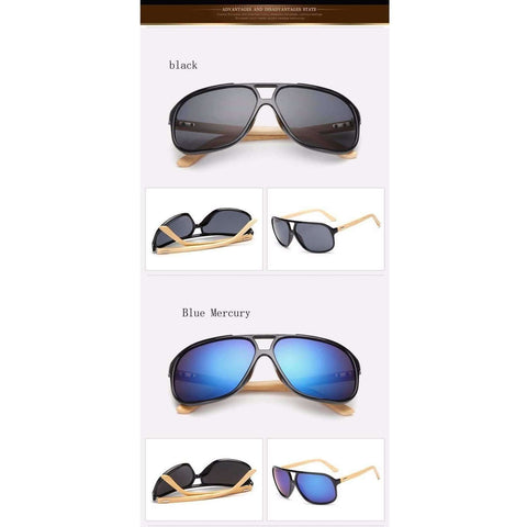 Image of Vintage Mens Wood Sunglasses Brand Designer Bamboo Sun Glasses For Men - AMAZOFFER