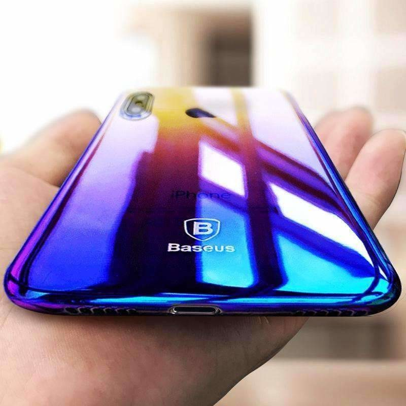 Baseus Phone Case For iPhone X 10 Capinhas Gradient Color Ultra Thin Slim PC Hard Back Cover Case For iPhoneX Shell Coque Fundas - AMAZOFFER