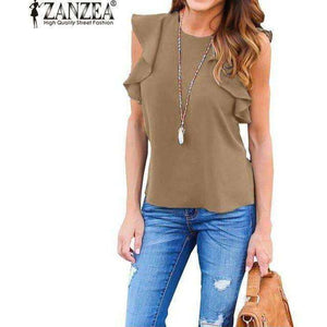 O Neck Sleeveless Ruffles Shirts Casual Slim Solid Blusas Plus Size Tee Tops