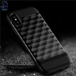 KRY Phone Cases For iPhone X Case Full Protective Soft TPU Hard PC Material Back Cover For iphone X Case Cover Anti-knock Cases - AMAZOFFER