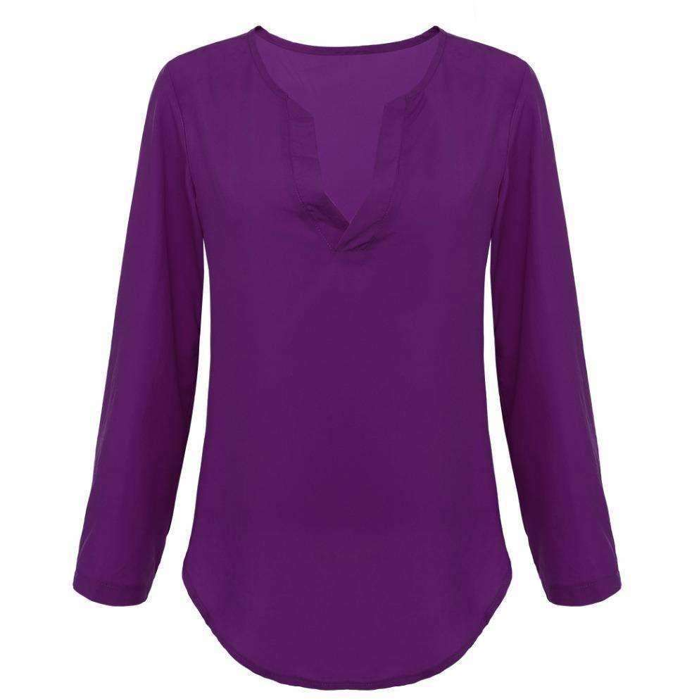 Women Blouse Shirts Women tops V neck Long Sleeve Casual Chiffon Blouses and Shirts Ladies Tops - AMAZOFFER