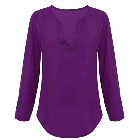 Image of Women Blouse Shirts Women tops V neck Long Sleeve Casual Chiffon Blouses and Shirts Ladies Tops - AMAZOFFER