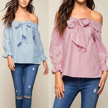Elegant Women Blouse Shirts Pink Bow Slash Neck Striped Lotus Long Sleeve - AMAZOFFER