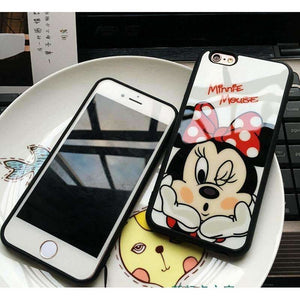 Clespruce Cartoon Lovers Mickey Mouse Minnie cover soft silicon Phone case For iPhone X 8 8plus 7 6 6s plus 5s SE funda Coque - AMAZOFFER