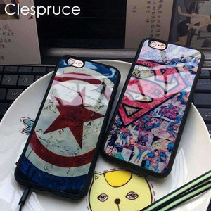 Clespruce Star Captain America Superman Soft Silicone Mirror Back Cover Phone Case For Iphone X 8 8plus 7 6 6s plus 5 5s SE Capa - AMAZOFFER