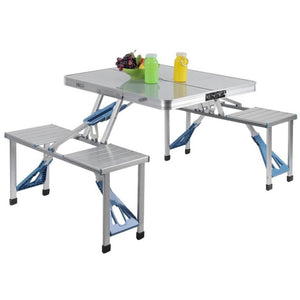Aluminum Outdoor  Portable Folding All-in-one Camping Picnic Table with 4 Seats Suitcase folding table