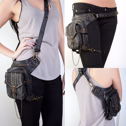 Image of High Quality Unisex PU Leather Motorcycle Rider Hip Leg Belt Bum Waist Holster Bags Punk Rock Messenger Shoulder Cross Body Bag - AMAZOFFER