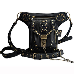 High Quality Unisex PU Leather Motorcycle Rider Hip Leg Belt Bum Waist Holster Bags Punk Rock Messenger Shoulder Cross Body Bag