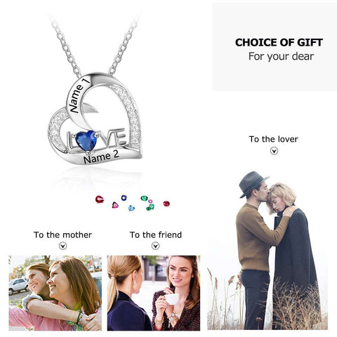 Image of Personalized 925 Sterling Silver Birthstone Necklace Pendants DIy Mom Girlfriend Birthday Christmas Gift - AMAZOFFER