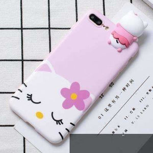 Cute 3D lucky cat phone Cases For iphone X 6 6s 6plus 7 7Plus 8 8plus Cartoon monsters tiger toys soft silicon case