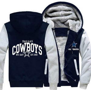 Men Women Cowboys Hoodies Zipper Jacket - AMAZOFFER