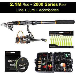 Fishing Reel Rod Combo with Full Fishing Accessories Kit