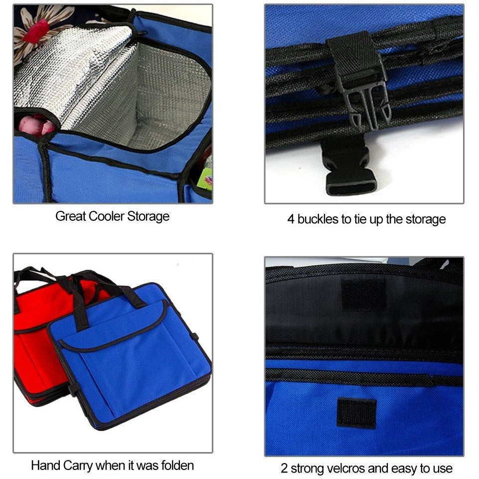 Car Trunk Organizer Bag Travel Storage Food Cooler Box Stowing Styling Waterproof Interior Cargo Double Tap To Zoom