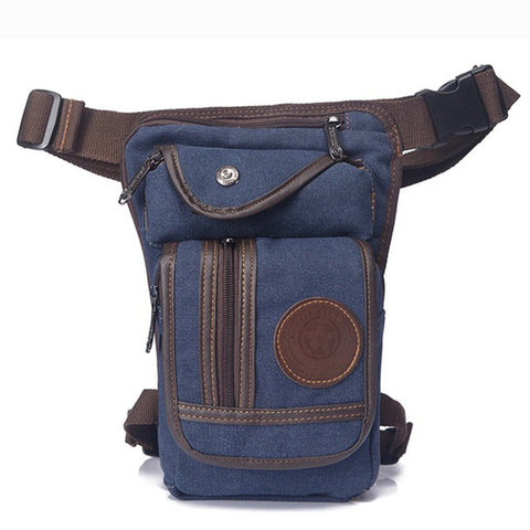 Image of Men's Canvas Drop Leg Bag Military Style - AMAZOFFER