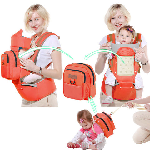 Image of Baby Carrier 10 In 1 Multifunction Toddler Backpack Sling Kids Hip Seat Newborns Kangaroo Hipseat With Diaper Bag Loading 20kg - AMAZOFFER