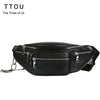 Fashion Women Waist Bag Casual Pu Leather  Chain Shoulder Bags Zipper Chest Waist Bags Travel Chest Bag Fanny Waist Pack - AMAZOFFER