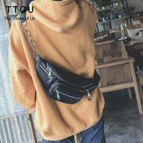 Image of Fashion Women Waist Bag Casual Pu Leather  Chain Shoulder Bags Zipper Chest Waist Bags Travel Chest Bag Fanny Waist Pack - AMAZOFFER