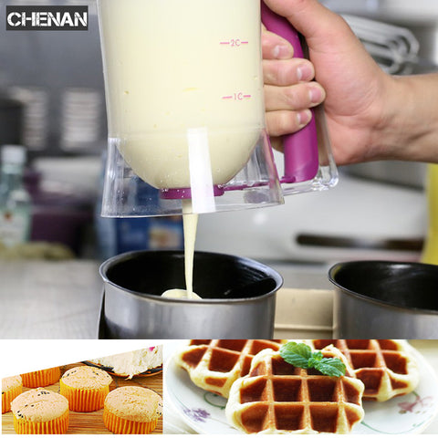 Image of Food Grade Baking Pastry Tools Cooking Tools Cake Pancake Batter Cream Dough 900ml Cream DIY Pastry Cupcake Baking Dispenser - AMAZOFFER